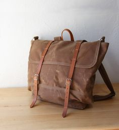 c224abfaaddf The Rucksack // Backpack in Saddle Brown Waxed Canvas and Leather. Infusion  on Etsy