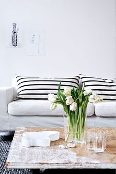 Black + White Horizontal Stripe Cushions