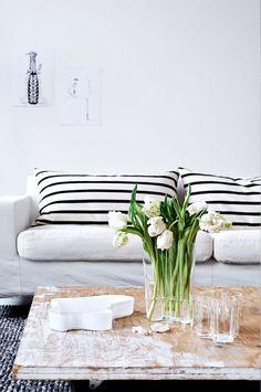 Black + White Horizontal Stripe Cushions