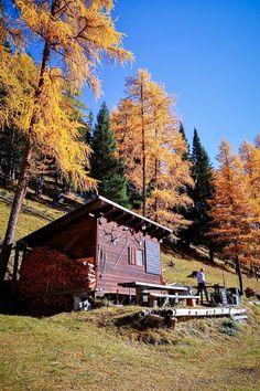 Der Schweizerische Nationalpark mit seinen gelben Lärchen bietet im Herbst ein spektakuläres Farbenspiel. Aber die Wanderung zur Alp Trupchun im Val Varusch lohnt sich nicht nur deswegen.  #Wandertipp #SchweizerNationalpark #Engadin Great View, Switzerland, Wanderlust, Hiking, Cabin, House Styles, Places, Houses, Holidays