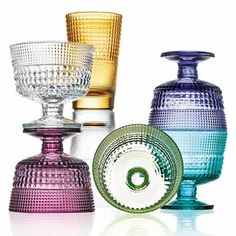 Speedy Footed Bowls, set of 6 in assorted colors | Handblown glass by IVV from Tuscany, Italy | shop more glassware at http://www.giardinidisole.com/shop-glassware/
