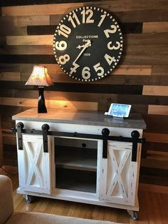 Barn Door TV Stand by KnoxRestoration on Etsy Space Saving Furniture, Small Furniture, Diy Furniture, Rustic Furniture, Home Decor Bedroom, Diy Home Decor, Barn Door Tv Stand, Storage Shelves, Shelf
