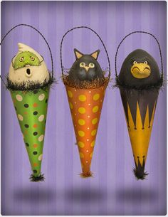 Halloween Hanging Cones set of 3 by chickenlipsfolkart on Etsy