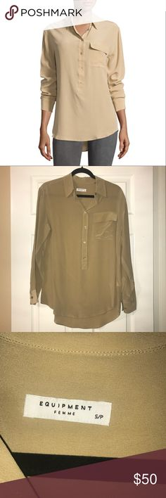 Equipment Khaki Garrett Silk Long Sleeve Blouse Purchased from Neiman Marcus some time in Spring 2016. NEVER WORN!! BRAND NEW!! Tags are not attached but it's in perfect retail condition with no flaws, defects, damages, or signs of wear whatsoever.  NO TRADES!! NO MODELING!! PRICE IS FIRM!!!! NO OFFERS!!!! Equipment Tops Blouses