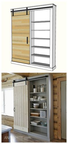 Do It Yourself Solar Electricity For Your House Ana White Barn Door Cabinet Or Pantry - Diy Projects Barn Door Cabinet, Barn Door Pantry, Rangement Pour Walk In, Ana White, Porta Diy, Cocina Diy, Diy Casa, White Barn, Diy Holz