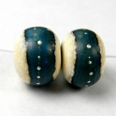 Orangic Lampwork Beads Handmade Ivory Glass Turquoise Band Silver SRA  | Covergirlbeads - Jewelry on ArtFire