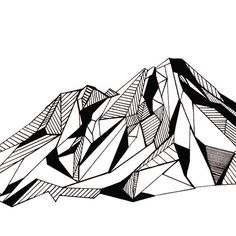 Mount Shasta Polygonal Mountain Drawing Art Print by TimPlusApril