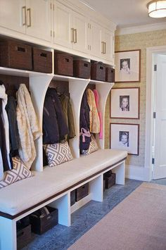 Mud room bench with shoe storage underneath