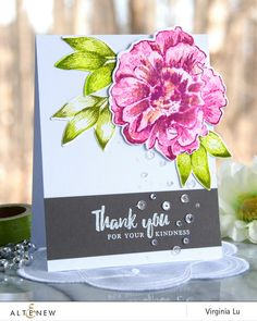 Thank you card embellished with sequins featuring Build-A-Flower: Camellia stamp and die set. www.altenew.com