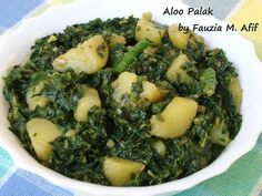 Aloo Palak (Potato in Spinach) | Fauzias Kitchen Fun -- added yogurt and milk mixture at the end