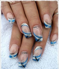 Image via Fancy Nail Art Designs Image via Fantastic French Manicure Ideas for 2015 Image via Black and Gold Dotted Fancy Nail Tutorial Image via Fancy Nail Art Image Fancy Nail Art, Trendy Nail Art, French Nails, Hair And Nails, My Nails, Blue Nail Designs, Blue Design, Blue Nails, Silver Nails
