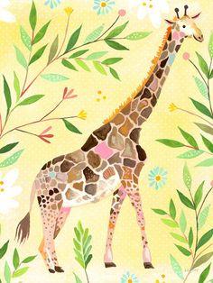 Wild Flower Giraffe Canvas Art