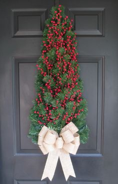 Red Holly Berry Christmas Tree Wreath Large Burlap Bow
