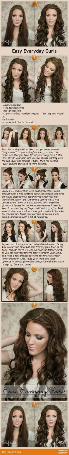 Easy Everyday Curls Tutorial - 16 Perfect Beach Wavy Hair Tutorials | GleamItUp