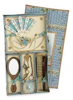 The Memory of All That - Marquis Antique Doll Auction: 4 Outstanding Original French Toilette and Jewelry Ensemble for Poupee in Original Box