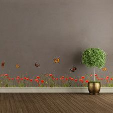 Poppies and Butterflies Border Wall Decal