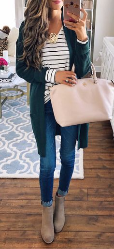 #summer #outfits  Green Cardigan + Blush Tote Bag + Striped Top + Skinny Jeans