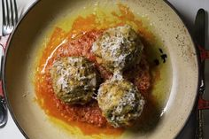 Carbone's Meatballs: Ari and I used lamb, beef, and pork for the meatballs, omitted the milk-soaked bread