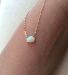 Australian Opal Necklace Gold Opal Necklace by charlieandmarcelle