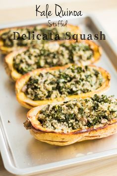 This vegan Kale Quinoa Stuffed Delicata Squash recipe is the perfect meatless dinner providing essential protein and iron and lots of Vitamin A and C. (I suggest figuring a way to bring nutritional yeast into this. making a cheezy sauce) Vegan Main Dishes, Veggie Dishes, Vegetable Recipes, Food Dishes, Vegetarian Recipes, Healthy Recipes, Vegan Squash Recipes, Healthy Cooking, Cooking Recipes