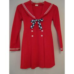 Vintage 1960's Shutter Bug by Betsy Daniels red mod sailoresque girls... ($32) ❤ liked on Polyvore featuring dresses