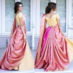 Saree draping styles - 10 Saree Draping Style Guide For The Wedding Season Lehenga Saree Design, Half Saree Lehenga, Saree Look, Saree Dress, Ghagra Saree, Lehenga Blouse, Bridal Lehenga, Lehenga Designs, Half Saree Designs