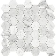 Anatolia Tile Carrara Natural Stone Mosaic Hexagon Wall Tile (Common: 12-in x 12-in; Actual: 11.73-in x 11.88-in)
