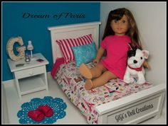 Dream of Paris bedding for American Girl by GiGisDollCreations