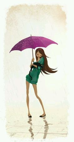 Algodão-Doce Art And Illustration, Illustrations Vintage, Character Illustration, Female Character Design, Character Art, Umbrella Art, Purple Umbrella, Female Characters, Cat Art