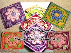 crochet african flower square - YouTube