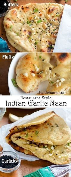 Indian Garlic Naan Bread for Easy Indian Dinner at Home   http://chefdehome.com