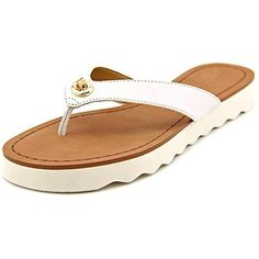 4b7256c09af2 Coach Shelly Women Open Toe Leather Flip Flop Sandal White Size 70     You