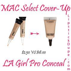 MAC Select Cover-Up Concealer Dupe LA Girl Pro Conceal Concealer $2.50 vs $18.00 #dupe #Dupes www.lipstickdupe.com