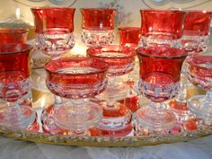 Cranberry King's Crown Glassware
