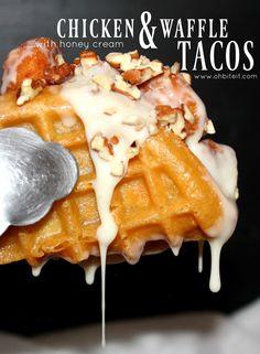 ~Chicken & Waffle Tacos ..with honey cream.