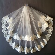 2 Tiers White or Ivory Bridal Wedding Veil With Comb Lace Applique Edge