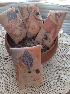 Set of 4 Primitive Patriotic Bowl Fillers Pillow by VintageHare, $19.88