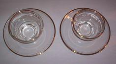Vintage Homer Laughlin Gold Trimmed Dessert Cups + Dessert/salad plates 8 piece