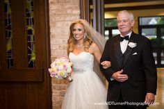 Father of the bride and the bride walking down the aisle - Houston wedding photography - MD Turner Photography