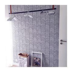 ferm LIVING Herringbone wallpaper and clothes rack: http://www.fermliving.com/webshop/shop/wallpaper/herringbone-wallpaper.aspx http://www.fermliving.com/webshop/shop/new-collection/clothes-rack.aspx