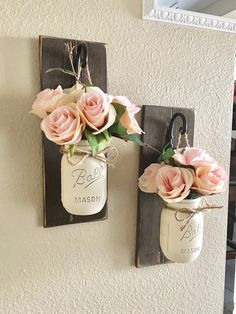 Etsy Set of 2 Mason Jar Sconces, Mason Jar Wall Decor, Country Decor, Hanging Mason Jar Sconce, Mason Jar Decor, Wall Sconce, Farmhouse Decor    These rustic country style mason jar sconces are the perfect touch to your home decor. They bring warmth and beauty to any room. affiliate