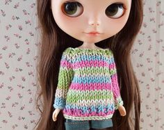 Stripey sweater jumper for Neo Blythe Licca Pullips Barbie Jerry Berry and similar dolls