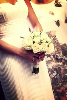 Bridal bouquet with white roses & veronica alba