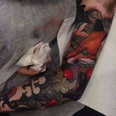 Neo-Traditional Sleeve Tattoo by Emily Rose Murray neotraditional fox holly neotraditionalsleeve sleeve inspiration EimlyRoseMurray