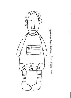 FREE Primitive Americana Annie doodle stitchery epattern pattern
