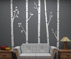 Set of 5 Birch Trees with Branches, 8 Feet Tall EACH! Full Wall Birch Tree Scape - Removable Vinyl Decals - Stickers for Home Decorating and Interior Design - White Wall Decal Gallery http://www.amazon.com/dp/B00TXSQE9G/ref=cm_sw_r_pi_dp_T4x.vb0WM8T9T