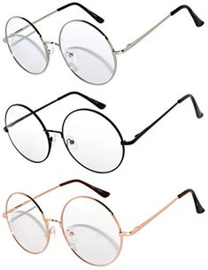 44f7e6d8e6 3 Pairs Round Retro Vintage Clear Lens Sunglasses Silver ... https