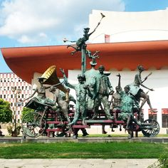 """""""Căruţa cu paiaţe"""" - """"The cart with harlequin"""", #Bucharest, #Romania - Monument in front of the """"Ion Luca Caragiale"""" National Theater in Bucharest #sculpture #art - more details here http://www.earthsattractions.com/monument-tnb-bucharest/"""