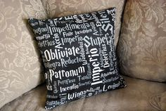 Fun decorative throw pillow cover with spells from the Harry Potter series. Cover is 14x14 and has an envelope style back for ease of access. Please