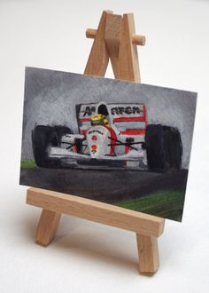 Original ACEO F1 Painting Ayrton Senna by SamsArtyStuff on Etsy, £5.00